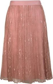 Lace Pleated Skirt - length: below the knee; fit: loose/voluminous; style: pleated; waist detail: wide waistband/cummerbund; waist: high rise; secondary colour: blush; predominant colour: nude; occasions: evening, occasion; fibres: nylon - mix; hip detail: ruching/gathering at hip; texture group: lace; trends: volume; pattern type: fabric; pattern size: small & busy; pattern: patterned/print; embellishment: lace