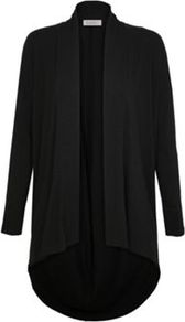 Jersey Longline Cardigan - sleeve style: dolman/batwing; pattern: plain; neckline: shawl; length: below the bottom; style: open front; predominant colour: black; occasions: casual; fibres: viscose/rayon - stretch; fit: loose; back detail: longer hem at back than at front; sleeve length: long sleeve; pattern type: fabric; texture group: jersey - stretchy/drapey