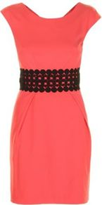 Red Brick Adelaide Dress - style: shift; length: mid thigh; neckline: round neck; sleeve style: capped; fit: tailored/fitted; pattern: plain; waist detail: embellishment at waist/feature waistband; predominant colour: coral; secondary colour: black; occasions: evening; fibres: polyester/polyamide - stretch; hip detail: structured pleats at hip; sleeve length: sleeveless; texture group: cotton feel fabrics; pattern type: fabric; embellishment: lace