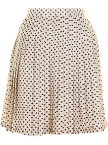 Cream Kelsey Skirt - length: mid thigh; fit: loose/voluminous; style: pleated; waist: high rise; pattern: polka dot; predominant colour: ivory; secondary colour: navy; occasions: casual; fibres: polyester/polyamide - 100%; hip detail: structured pleats at hip; texture group: sheer fabrics/chiffon/organza etc.; pattern type: fabric; pattern size: small & busy
