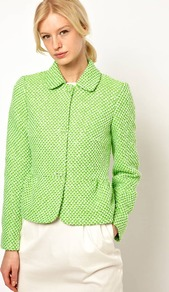 Peplum Jacket In Fleuro Tweed - pattern: plain, herringbone/tweed; style: single breasted blazer; collar: standard lapel/rever collar; predominant colour: lime; occasions: casual, work, occasion; length: standard; fit: straight cut (boxy); fibres: acrylic - mix; waist detail: peplum detail at waist; sleeve length: long sleeve; sleeve style: standard; trends: fluorescent; collar break: high; pattern type: fabric; pattern size: standard; texture group: tweed - bulky/heavy