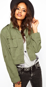 Cropped Utility Jacket - pattern: plain; length: cropped; collar: high neck; style: boxy; predominant colour: khaki; occasions: casual; fit: straight cut (boxy); fibres: cotton - 100%; shoulder detail: discreet epaulette; sleeve length: long sleeve; sleeve style: standard; texture group: cotton feel fabrics; collar break: high; pattern type: fabric