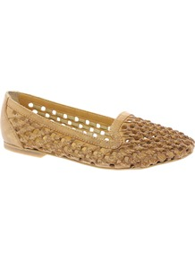 Sabara Woven Slipper Shoes - predominant colour: camel; occasions: casual, work; material: leather; heel height: flat; toe: round toe; style: ballerinas / pumps; finish: plain; pattern: plain