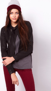 Collarless Leather Jacket - pattern: plain; style: biker; collar: standard biker; fit: slim fit; predominant colour: black; occasions: casual, evening; length: standard; fibres: leather - 100%; sleeve length: long sleeve; sleeve style: standard; texture group: leather; collar break: high/illusion of break when open; pattern type: fabric
