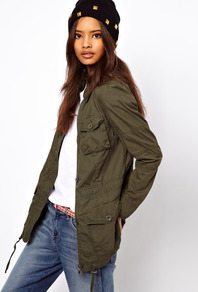 Four Pocket Utility Parka - pattern: plain; length: below the bottom; bust detail: added detail/embellishment at bust; style: parka; hip detail: front pockets at hip; collar: high neck; predominant colour: khaki; occasions: casual; fit: straight cut (boxy); fibres: cotton - 100%; waist detail: fitted waist, belted waist/tie at waist/drawstring; shoulder detail: discreet epaulette; sleeve length: long sleeve; sleeve style: standard; texture group: cotton feel fabrics; collar break: high; pattern type: fabric