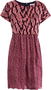 Knit Print Silk Dress - style: shift; length: mid thigh; neckline: round neck; fit: tailored/fitted; waist detail: fitted waist; predominant colour: hot pink; occasions: casual, evening, work; fibres: silk - 100%; hip detail: contrast fabric/print detail at hip, soft pleats at hip/draping at hip/flared at hip; bust detail: contrast pattern/fabric/detail at bust; sleeve length: short sleeve; sleeve style: standard; texture group: sheer fabrics/chiffon/organza etc.; trends: modern geometrics; pattern type: fabric; pattern size: small &amp; busy; pattern: patterned/print