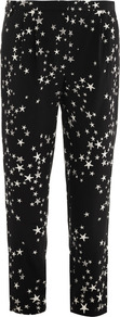 Star Print Silk Trousers - pocket detail: large back pockets, small back pockets, pockets at the sides; waist: mid/regular rise; secondary colour: white; predominant colour: black; occasions: casual, evening, work, holiday; length: ankle length; fibres: silk - 100%; hip detail: front pleats at hip level; waist detail: narrow waistband; texture group: silky - light; trends: statement prints; fit: slim leg; pattern type: fabric; pattern size: small & busy; pattern: patterned/print; style: standard