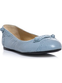 Leather Studded Flats - predominant colour: pale blue; occasions: casual, work, holiday; material: leather; heel height: flat; embellishment: beading; toe: round toe; style: ballerinas / pumps; finish: plain; pattern: plain