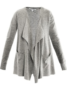 Hurit Cardigan - neckline: waterfall neck; length: below the bottom; hip detail: front pockets at hip; style: open front; predominant colour: mid grey; occasions: casual, work; fibres: wool - mix; fit: loose; sleeve length: long sleeve; sleeve style: standard; texture group: knits/crochet; bust detail: tiers/frills/bulky drapes/pleats; pattern type: knitted - other