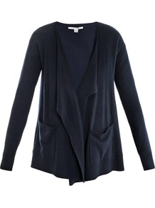 Hurit Cardigan - neckline: waterfall neck; hip detail: front pockets at hip, dip hem; bust detail: ruching/gathering/draping/layers/pintuck pleats at bust; style: open front; predominant colour: navy; occasions: casual, work; length: standard; fibres: wool - mix; fit: loose; sleeve length: long sleeve; sleeve style: standard; texture group: knits/crochet; trends: volume; pattern type: knitted - fine stitch