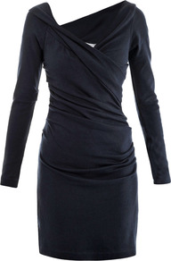 Lori Dress - style: faux wrap/wrap; neckline: low v-neck; pattern: plain; waist detail: fitted waist, twist front waist detail/nipped in at waist on one side/soft pleats/draping/ruching/gathering waist detail; hip detail: fitted at hip, soft pleats at hip/draping at hip/flared at hip; bust detail: ruching/gathering/draping/layers/pintuck pleats at bust; predominant colour: navy; occasions: casual, evening, work, occasion; length: just above the knee; fit: body skimming; fibres: silk - mix; sleeve length: long sleeve; sleeve style: standard; texture group: jersey - clingy; pattern type: fabric