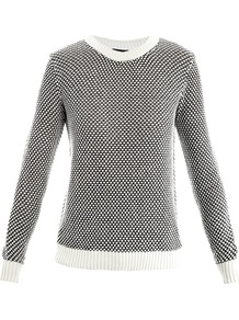 Ferlise Cotton Sweater - style: standard; predominant colour: black; occasions: casual, work; length: standard; fibres: cotton - mix; fit: standard fit; neckline: crew; sleeve length: long sleeve; sleeve style: standard; texture group: knits/crochet; pattern type: knitted - other; pattern size: small & busy; pattern: patterned/print