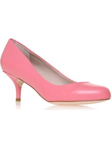 Amica - predominant colour: pink; occasions: evening, work, occasion, holiday; material: leather; heel height: mid; heel: kitten; toe: round toe; style: courts; finish: plain; pattern: plain