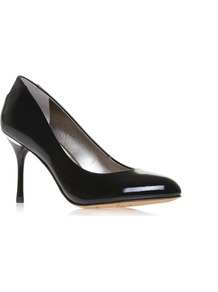 Camdyn - predominant colour: black; occasions: evening, work, occasion; material: leather; heel height: high; heel: stiletto; toe: round toe; style: courts; finish: patent; pattern: plain