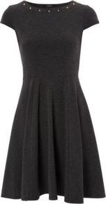 Studded Ponte Fit And Flare Dress Charcoal - neckline: round neck; sleeve style: capped; pattern: plain; bust detail: added detail/embellishment at bust; waist detail: fitted waist; predominant colour: charcoal; occasions: casual, evening, occasion; length: just above the knee; fit: fitted at waist &amp; bust; style: fit &amp; flare; fibres: polyester/polyamide - stretch; hip detail: structured pleats at hip; sleeve length: short sleeve; pattern type: fabric; pattern size: standard; texture group: jersey - stretchy/drapey; embellishment: studs