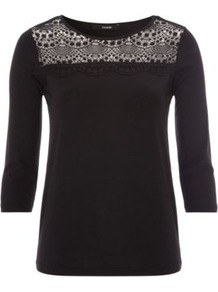 Lace Panel Jersey Top Black - pattern: plain; bust detail: added detail/embellishment at bust; predominant colour: black; occasions: casual; length: standard; style: top; fibres: polyester/polyamide - mix; fit: body skimming; neckline: crew; sleeve length: 3/4 length; sleeve style: standard; texture group: lace; pattern type: fabric; pattern size: standard