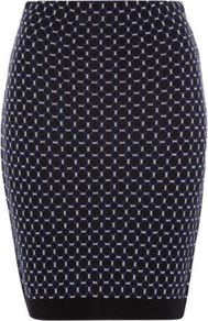 Knitted Geo Skirt Navy - length: mid thigh; style: pencil; fit: tight; hip detail: fitted at hip; waist: mid/regular rise; predominant colour: navy; occasions: casual, work; fibres: acrylic - mix; texture group: knits/crochet; trends: modern geometrics; pattern type: knitted - fine stitch; pattern size: small & busy; pattern: patterned/print