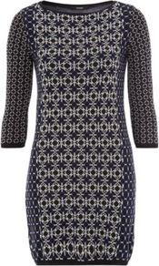 Geo Knitted Dress Navy - style: jumper dress; length: mid thigh; fit: tight; waist detail: fitted waist; predominant colour: charcoal; occasions: casual, evening; fibres: cotton - mix; neckline: crew; sleeve length: 3/4 length; sleeve style: standard; texture group: knits/crochet; trends: modern geometrics; pattern type: fabric; pattern size: small & busy; pattern: patterned/print