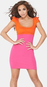 Colour Block Dress, Orange - length: mini; sleeve style: capped; fit: tight; pattern: plain; style: bodycon; hip detail: fitted at hip; predominant colour: hot pink; secondary colour: bright orange; occasions: evening; neckline: scoop; fibres: viscose/rayon - stretch; bust detail: contrast pattern/fabric/detail at bust; sleeve length: sleeveless; texture group: jersey - clingy; pattern type: fabric