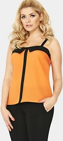 Wide Strap Top, Orange - sleeve style: spaghetti straps; pattern: plain; style: camisole; predominant colour: bright orange; secondary colour: black; occasions: casual, evening, holiday; length: standard; fibres: polyester/polyamide - 100%; fit: straight cut; bust detail: contrast pattern/fabric/detail at bust; sleeve length: sleeveless; neckline: low square neck; pattern type: fabric; pattern size: standard; texture group: jersey - stretchy/drapey