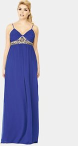 Embellished Maxi Dress, Blue - neckline: low v-neck; sleeve style: spaghetti straps; fit: empire; pattern: plain; style: maxi dress; bust detail: added detail/embellishment at bust; predominant colour: royal blue; length: floor length; fibres: polyester/polyamide - stretch; hip detail: soft pleats at hip/draping at hip/flared at hip; sleeve length: sleeveless; texture group: sheer fabrics/chiffon/organza etc.; occasions: holiday; pattern type: fabric; embellishment: embroidered