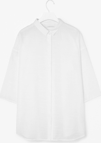 Sheer Textured Shirt - neckline: shirt collar/peter pan/zip with opening; pattern: plain; length: below the bottom; style: shirt; bust detail: buttons at bust (in middle at breastbone)/zip detail at bust; predominant colour: white; occasions: casual, work; fibres: cotton - mix; fit: straight cut; sleeve length: 3/4 length; sleeve style: standard; pattern type: fabric; pattern size: standard; texture group: other - light to midweight