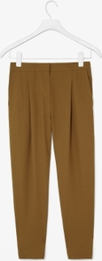 Pleated Trousers - length: standard; pattern: plain; pocket detail: small back pockets, pockets at the sides; style: peg leg; waist: mid/regular rise; predominant colour: mustard; occasions: casual, evening, work; fibres: polyester/polyamide - mix; hip detail: front pleats at hip level; waist detail: narrow waistband; texture group: crepes; fit: tapered; pattern type: fabric; pattern size: standard