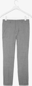 Houndstooth Trousers - length: standard; waist detail: fitted waist, narrow waistband; pocket detail: small back pockets, pockets at the sides; waist: mid/regular rise; predominant colour: mid grey; occasions: casual, evening, work; fibres: wool - 100%; hip detail: fitted at hip (bottoms); pattern: dogtooth; fit: slim leg; pattern type: fabric; pattern size: small &amp; busy; texture group: woven light midweight; style: standard