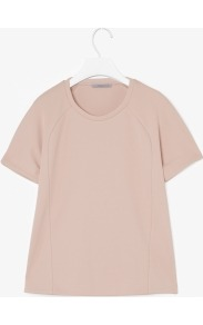 Curved Seam Top - neckline: round neck; pattern: plain; style: t-shirt; predominant colour: blush; occasions: casual, evening, work; length: standard; fibres: polyester/polyamide - 100%; fit: straight cut; sleeve length: short sleeve; sleeve style: standard; pattern type: fabric; pattern size: standard; texture group: jersey - stretchy/drapey