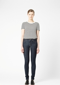 Mid Blue Skinny Jeans - style: skinny leg; length: standard; pattern: plain; pocket detail: traditional 5 pocket; waist: mid/regular rise; predominant colour: navy; occasions: casual; fibres: cotton - mix; jeans detail: dark wash; texture group: denim; pattern type: fabric; pattern size: standard