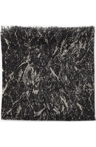 Silk And Wool Print Scarf - predominant colour: black; occasions: casual, work; type of pattern: standard; style: regular; size: standard; material: silk; embellishment: fringing; pattern: two-tone, patterned/print; trends: modern geometrics