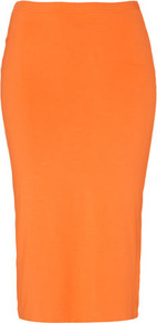 Double Layer Tube Skirt - length: below the knee; pattern: plain; fit: tight; waist detail: fitted waist, narrow waistband; waist: high rise; hip detail: fitted at hip; predominant colour: bright orange; occasions: casual, evening, occasion; fibres: cotton - stretch; style: tube; texture group: jersey - clingy; trends: fluorescent; pattern type: fabric; pattern size: standard