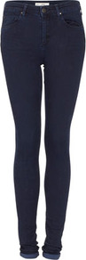 Tall Moto Skinny Leigh Jeans - style: skinny leg; length: standard; pattern: plain; pocket detail: traditional 5 pocket; waist: mid/regular rise; predominant colour: navy; occasions: casual; fibres: cotton - mix; jeans detail: dark wash; jeans & bottoms detail: turn ups; texture group: denim; pattern type: fabric; pattern size: standard