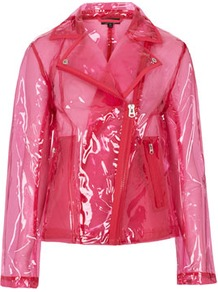 Pink Clear Plastic Jacket - pattern: plain; style: biker; bust detail: added detail/embellishment at bust; hip detail: side pockets at hip, front pockets at hip, flared at hip; collar: asymmetric biker; predominant colour: hot pink; occasions: casual; length: standard; fit: straight cut (boxy); fibres: polyester/polyamide - 100%; sleeve length: long sleeve; sleeve style: standard; texture group: rubber/latex; trends: fluorescent; collar break: medium; pattern type: fabric; pattern size: standard