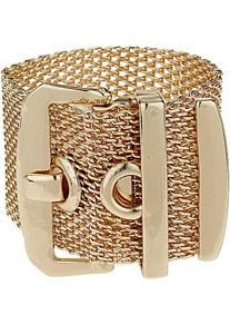 Mesh Buckle Bracelet - predominant colour: gold; occasions: casual, evening, work, occasion; style: cuff; size: large/oversized; material: chain/metal; trends: metallics; finish: metallic; embellishment: chain/metal