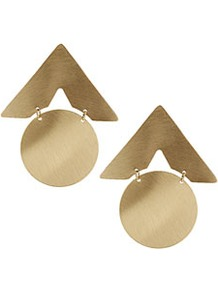 Mega Circle Arrow Earrings - predominant colour: gold; occasions: casual, evening, work, occasion, holiday; style: drop; length: mid; size: standard; material: chain/metal; fastening: pierced; trends: metallics; finish: metallic