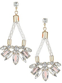Fabric Jewel Drop Earring - predominant colour: ivory; occasions: evening, occasion; style: drop; length: long; size: large/oversized; material: chain/metal; fastening: pierced; finish: plain; embellishment: beading, crystals, jewels