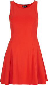 Clean Seam Flippy Tunic - length: mid thigh; neckline: round neck; pattern: plain; sleeve style: sleeveless; waist detail: fitted waist; predominant colour: bright orange; occasions: casual, evening, occasion, holiday; fit: fitted at waist &amp; bust; style: fit &amp; flare; fibres: cotton - stretch; hip detail: ruching/gathering at hip, structured pleats at hip, soft pleats at hip/draping at hip/flared at hip; sleeve length: sleeveless; pattern type: fabric; pattern size: standard; texture group: jersey - stretchy/drapey