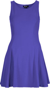 Clean Seam Flippy Tunic - style: tunic; length: mid thigh; neckline: round neck; pattern: plain; sleeve style: sleeveless; waist detail: fitted waist; predominant colour: indigo; occasions: casual, evening, occasion; fit: soft a-line; fibres: cotton - stretch; hip detail: structured pleats at hip, soft pleats at hip/draping at hip/flared at hip; sleeve length: sleeveless; texture group: jersey - clingy; pattern type: fabric; pattern size: standard