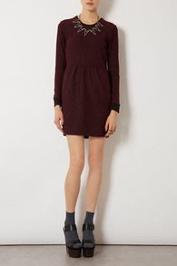 Boucle Sweater Dress - style: shift; length: mid thigh; fit: fitted at waist; pattern: plain, herringbone/tweed; waist detail: fitted waist, twist front waist detail/nipped in at waist on one side/soft pleats/draping/ruching/gathering waist detail; hip detail: fitted at hip, ruching/gathering at hip; predominant colour: burgundy; occasions: casual, evening, work; fibres: polyester/polyamide - mix; neckline: crew; sleeve length: long sleeve; sleeve style: standard; texture group: knits/crochet; trends: glamorous day shifts; pattern type: fabric; pattern size: standard