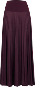 Tall Pleat Maxi Skirt - pattern: plain; fit: loose/voluminous; waist detail: wide waistband/cummerbund; waist: high rise; predominant colour: purple; occasions: casual, evening, occasion, holiday; length: floor length; style: maxi skirt; fibres: polyester/polyamide - 100%; hip detail: structured pleats at hip, soft pleats at hip/draping at hip/flared at hip; texture group: sheer fabrics/chiffon/organza etc.; pattern type: fabric; pattern size: standard