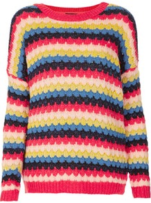 Tall Bobble Stripe Jumper - neckline: round neck; pattern: horizontal stripes, patterned/print; length: below the bottom; style: standard; hip detail: fitted at hip, contrast fabric/print detail at hip; occasions: casual; fibres: cotton - mix; fit: loose; predominant colour: multicoloured; sleeve length: long sleeve; sleeve style: standard; texture group: knits/crochet; trends: striking stripes; pattern type: fabric; pattern size: standard