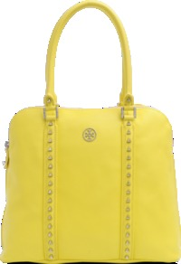 Pyramide Dome Stud Bag - predominant colour: yellow; occasions: casual, work, holiday; type of pattern: standard; style: tote; length: handle; size: standard; material: leather; embellishment: studs; pattern: plain; trends: fluorescent; finish: plain