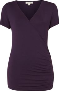 Women's S/S Wrap Top, Violet - neckline: v-neck; pattern: plain; length: below the bottom; style: wrap/faux wrap; predominant colour: aubergine; occasions: casual, work, holiday; fibres: viscose/rayon - stretch; fit: body skimming; hip detail: ruching/gathering at hip; sleeve length: short sleeve; sleeve style: standard; pattern type: fabric; texture group: jersey - stretchy/drapey