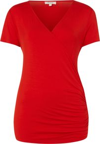 Women's S/S Wrap Top, Red - neckline: v-neck; pattern: plain; style: wrap/faux wrap; predominant colour: true red; occasions: casual, work, holiday; length: standard; fibres: viscose/rayon - stretch; fit: body skimming; hip detail: ruching/gathering at hip; sleeve length: short sleeve; sleeve style: standard; pattern type: fabric; texture group: jersey - stretchy/drapey