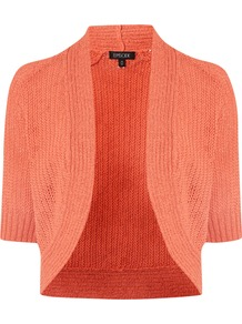 Women's Circle Knit Shrug, Rose - pattern: plain; style: bolero/shrug; length: cropped; neckline: collarless open; predominant colour: coral; occasions: casual, evening, work, occasion, holiday; fibres: cotton - mix; fit: standard fit; sleeve length: half sleeve; sleeve style: standard; texture group: knits/crochet; pattern type: knitted - other