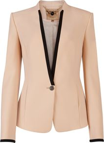Women's Teamo Contrast Trim Crepe Blazer, Nude - pattern: plain; style: single breasted tuxedo; collar: standard lapel/rever collar; predominant colour: blush; secondary colour: nude; occasions: evening, work, occasion; length: standard; fit: tailored/fitted; fibres: polyester/polyamide - 100%; sleeve length: long sleeve; sleeve style: standard; trends: tuxedo; collar break: low/open; pattern type: fabric; texture group: woven light midweight