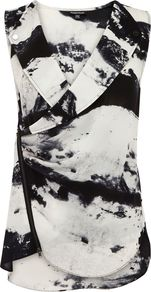 Women&#x27;s Abstract Print Biker Blouse, Dark Grey - neckline: low v-neck; sleeve style: sleeveless; style: wrap/faux wrap; predominant colour: black; occasions: casual, evening, work; length: standard; fibres: polyester/polyamide - 100%; fit: body skimming; sleeve length: sleeveless; texture group: cotton feel fabrics; pattern type: fabric; pattern size: big &amp; busy; pattern: patterned/print