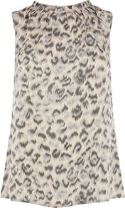 Women's Animal Neck Top, Multi Coloured - neckline: round neck; sleeve style: sleeveless; length: below the bottom; occasions: casual, evening, work, holiday; style: top; fibres: viscose/rayon - 100%; fit: body skimming; predominant colour: multicoloured; sleeve length: sleeveless; texture group: silky - light; pattern type: fabric; pattern size: small & busy; pattern: animal print