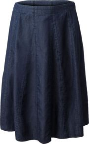 Women&#x27;s Flared Panelled Denim Skirt, Denim - length: below the knee; pattern: plain; fit: loose/voluminous; waist: mid/regular rise; predominant colour: navy; occasions: casual, work; style: a-line; fibres: cotton - 100%; texture group: denim; pattern type: fabric